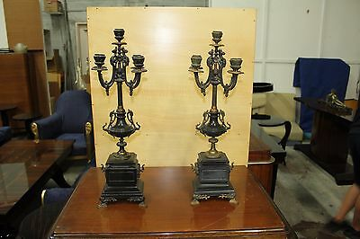 Big Pair of French Louis XV style 5 light  bronze candelabra Marble Base .AS IS