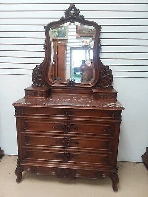 Antique French Louis XV Walnut Marble Top Commode Dresser Chest Mirror 1800's