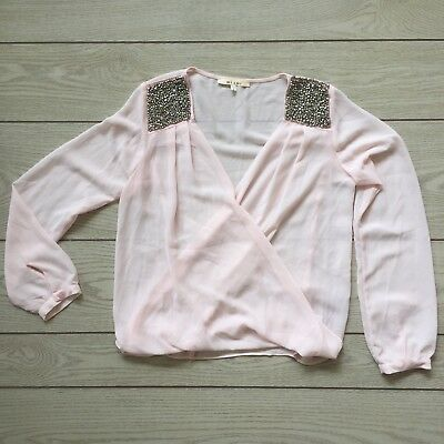 Miami  Light Pink Beaded/Sequin  Deep V Sheer Wrap Long Sleeve Top Size Small
