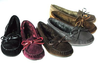 New Kids Girls Moccasins Cushy Faux Fur Slip On Indoor Outdoor Slipper Shoes
