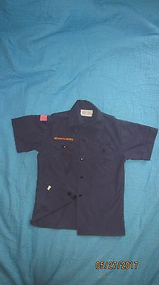 BSA CubScout Blue Uniform Shirt  Youth MED SS Made in USA 65%Poly/35%Cotton