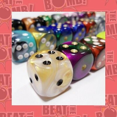 Bulk D6 Dice Assorted Loose Gemini 16mm With Pips (50 Dice In Bag)  - BRAND NEW