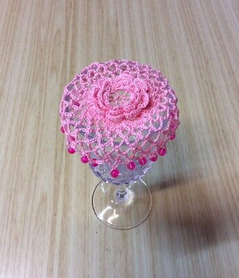 Wine Glass, Beaded Wine Glass Cover, Crochet, Champagne Glass Cover. Pink