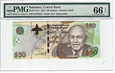 P-75A 2012  50 Dollars, Bahamas Central Bank, PMG 66EPQ