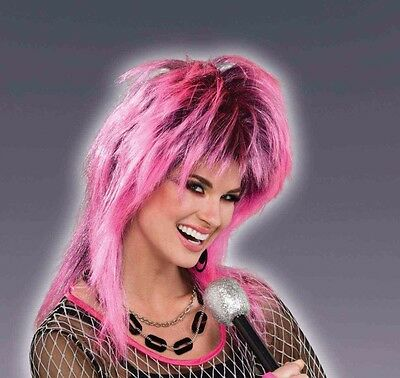 Womens Pink & Black Punk Wig 80s Spiked Hair Mullet Style Rocker Costume Adult