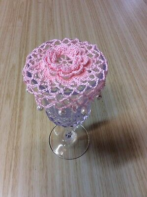 Wine Glass, Beaded Wine Glass Cover, Crochet, Champagne Glass Cover. Pale Pink