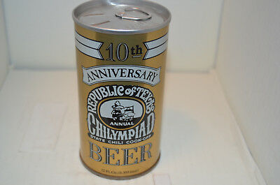 10th Anniversary Republic of Texas Chilympiad Beer Can-Spoetzl Brwg. Co.-Shiner