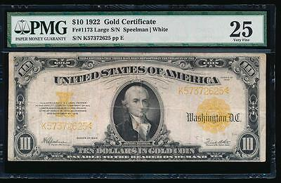 AC Fr 1173 1922 $10 Gold Certificate PMG 25 comment