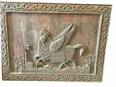 Antique Indian Al-Burāq Wall Sculpture Hand Carved Rustic Wood Wall Furniture