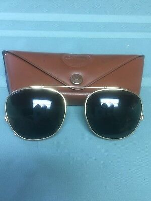 Vintage 1950's Bausch Lomb B&L 46 Clip On Sunglasses Ray Ban Aviator Green Gold