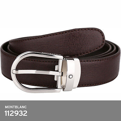 montblanc 112932 Brown Leather Belt Grained Effect Silver Metal Buckle FedEx EMS