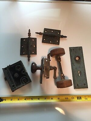 Lot Of Vintage Door Knobs Hinges Door Hardwear Lock Etc.