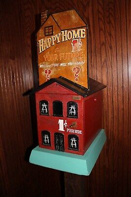 VERY RARE 1910 Caille Happy Home Coin Operated One Cent Arcade Machine