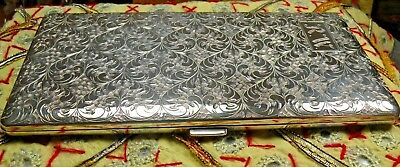 Antique Art Deco Solid Silver Japanese Cig Card Case, Large, 7 Oz,Beautiful Cond