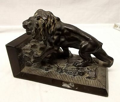 Antique Cast Metal Roaring Lion 3D Bookend Ronson Book End Spelter Vtg Art Deco