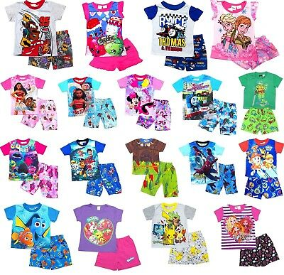 New 2-16 Kids Summer Pyjamas Boys Outfits Tee Pjs Sleepwear Nightie Tshirt Girls