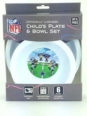 Dallas Cowboys Kids Baby Plate and Bowl Set NFL Licensed Made in USA BPA Free