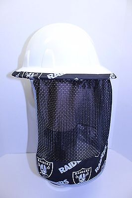 Hard Hat Neck Shade Neck Protector Quick Dry Mesh made from Raiders Fabric Black