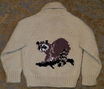 vtg kids handknit racoon cowichan zip cardigan 3-4 toddler big lebowski sweater