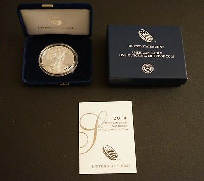 2014 Proof AMERICAN EAGLE SILVER DOLLAR West Point US MINT Gift BOX 1 oz .999