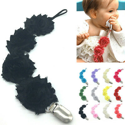 Cute Baby Girls Infant Rose Flower Dummy Pacifier Clip Teething Soother Holder