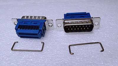Dee IDC 15 Way Plug Ribbon D Male Tin & Dimple + Strain Relief x 2 pcs or OFFERS