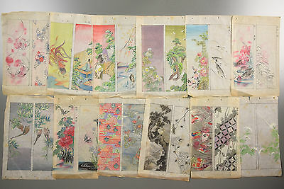 Antique Japanese Orin Hand Painted Kimono Designs Colouring Catalog 12 Sheets