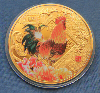 2017 Chinese Zodiac 24K Gold Colour Medal Coin--Year of the Rooster 60mm