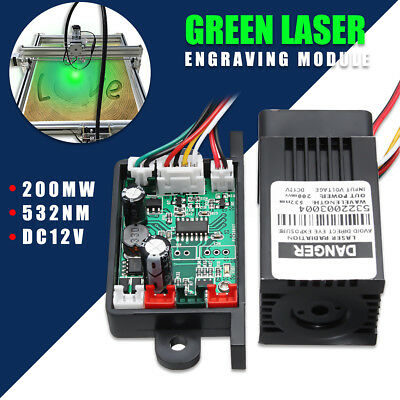 AU 200mW 532nm Green Laser Module w/ Heatsink Fan + TTL For CNC Cutter Engraver