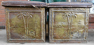Pair Of Decorative Early 20Th Century Copper Fire Boxes
