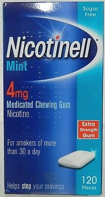 NICOTINELL MINT GUM 4mg Medicated Chewing gum Sugar Free 120 Pieces Stop Smoking