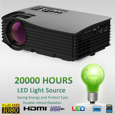 7000 Lumen 1080P HD LED Projektor Beamer Multi-screen Heimkino HDMI SD USB VGA
