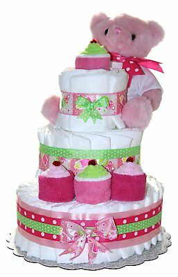 3 Tier Diaper Cake - Pink Teddy Bear Diaper Cake For Girl - Baby Gift For Baby -