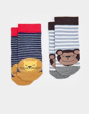 Joules 124474 Baby Boys Neat Feet Character Socks in Navy Stripe Lion
