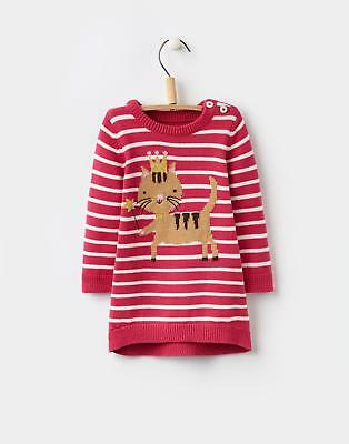 Joules 124441 Baby Girls Millicent Knitted Intarsia Dress in Pink Stripe