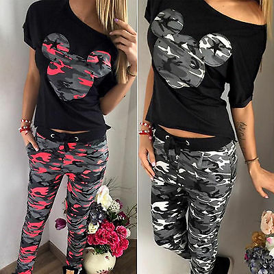 UK Womens Tracksuit Ladies Camouflage Loungewear Sets Jogger Sports Tops + Pants