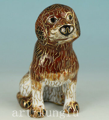 Chinese Old Cloisonne Handmade Carved Dog Statue Figure Decoration