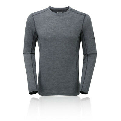 Montane Mens Sports Running Primino 140 Long Sleeve T Shirt Tee Top Grey