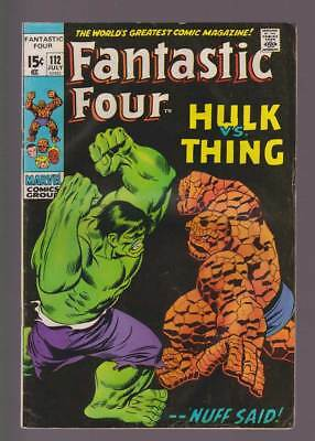 Fantastic Four # 112  The Hulk versus the Thing !  grade 4.0 scarce book !