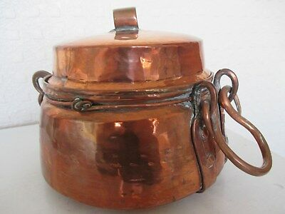 Fine Rustic - Beaten Copper Arts and Crafts Lidded Jam Pot with Rivets