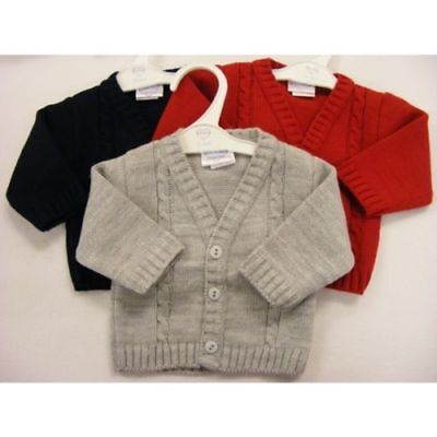 Kinder Baby Boys Romany Spanish Style Traditional Cable Knitted V Neck Cardigan