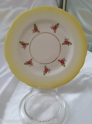 ♡ Royal Stafford Bone China Side Plate Yellow With Pink Roses