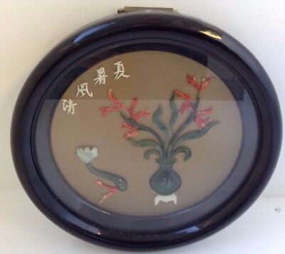 Oriental/Japanese Round 3D Picture Image With Stones with Brass Handle D x 19 cm