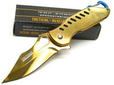 Tac-Force Gold Straight Assisted Folding Knife + Blue Carabiner Clip TF-906GD