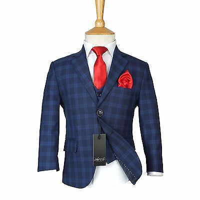 Boys Checkered Navy Suits Page Boy Blue Check Suit Kids Wedding Suits & Red Tie