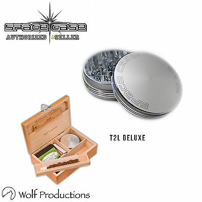 Space Case 2 Piece Aluminium Grinder All Sizes & Wolf Production T2 Deluxe Large