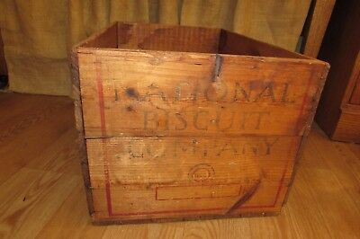 Antique Vintage Wooden National Biscuit Company Box Nailed End Construction#3060