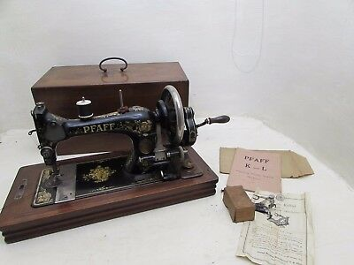 Antique Pfaff Hand Crank Sewing Machine+Boxed Automatic Ruffler With Instruction