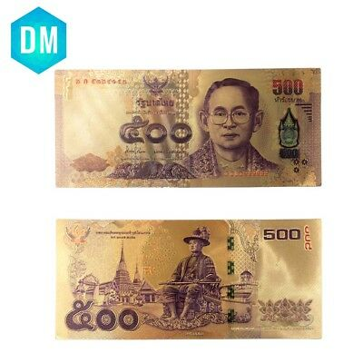 Gold Plated Normal Gold Banknote Rare Thailand Fake Money Gold Plated 500 Baht
