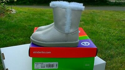 Striderite Girls Arabella silver Boots Soft Faux lining Sizes 6, 10 and 11 NEW